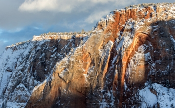 Last wonderful sunlights flaring up the red sandstone in Zion National Park.