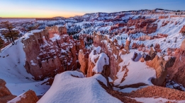 Bryce Canyon National Park Hoodoos in winter.
