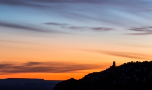 I was waiting for the first sunights on the Grand Canyon but my attention was diverted by sky behind the tower.