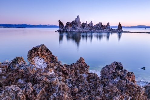 The Mono Lake tufas, as a stone ghost ship under the sunrise lights