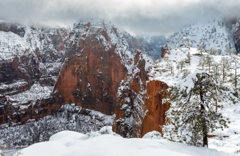 Between the snow and the clouds, we can't know where is the ground... and where is the sky in Angel's landing.