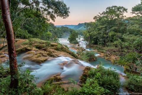 Turquoise water rolls down in Chiapas