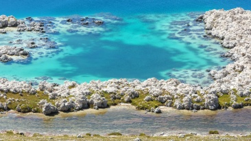 Turquoise and salted water as a sea in the crater situated in the high mexican plateau.
