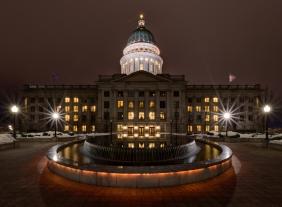 Major Place of Utah, the lights remain lit during the Christmas Night.