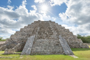 A great pyramid to honour the deity of the Feathered Serpent in Mayapán, Campeche.